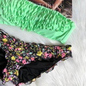 VS Fringe Bandeau Ruched Ruffle Floral Bikini Set